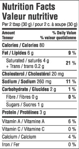 Spreadable Feta Nutritional Information