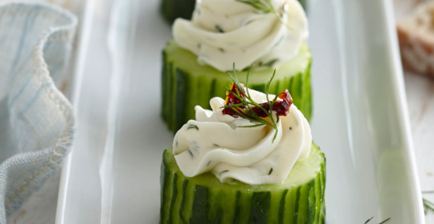 Feta Stuffed Cucumber Bites