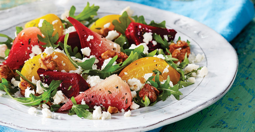 ROASTED BEET SALAD WITH PRESIDENT FETA CRUMBLE
