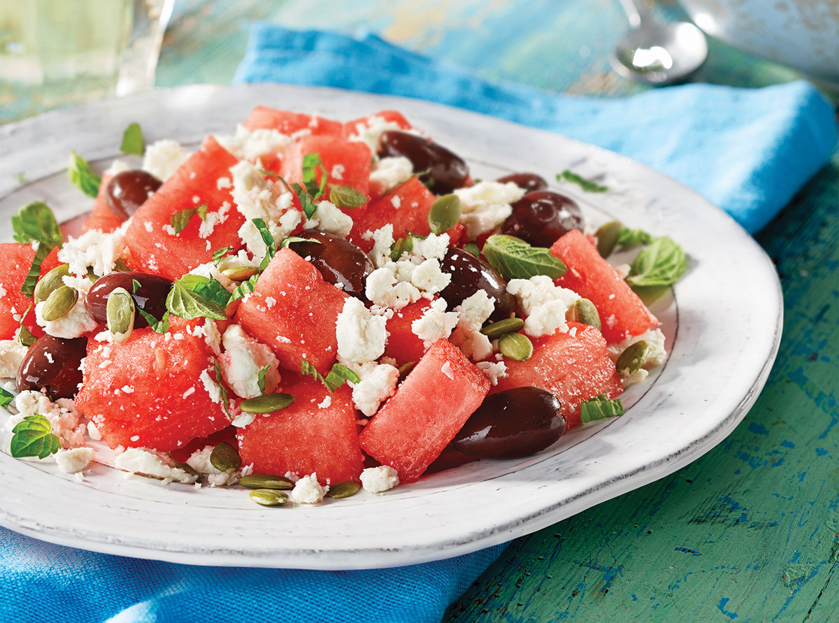 FRESH WATERMELON, OLIVE AND PRÉSIDENT FETA SALAD