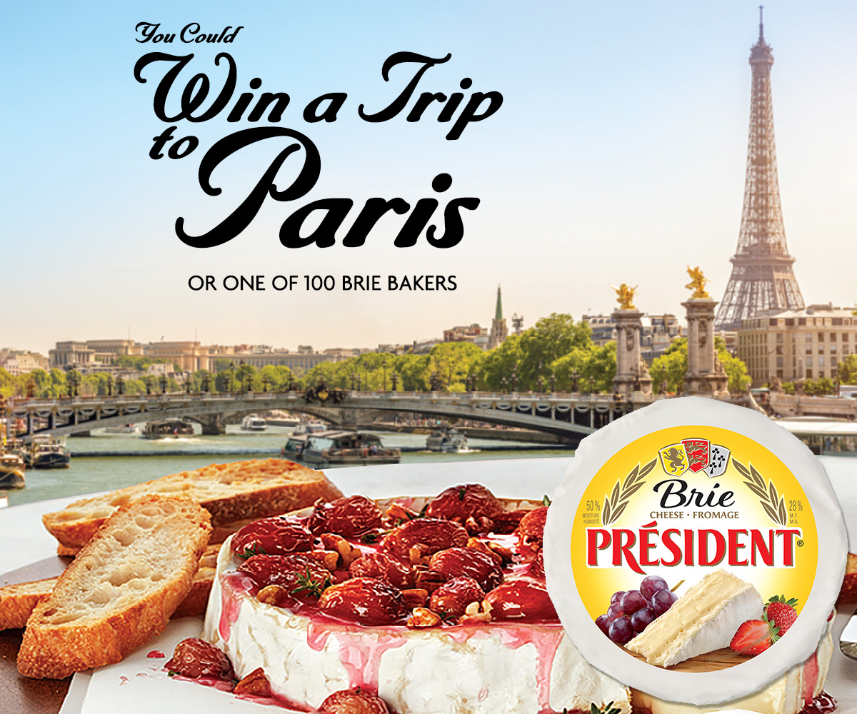 You could win a trip for two to Paris or 1 of 100 Stainless Steel Brie Bakers