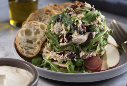 Brie Chicken Salad with Baguette Rounds