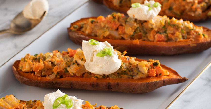 Twice Baked Sweet Potatoes with Crunchy Topping